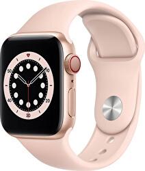 Apple Watch Series 6 GPS + Cellular, 40mm Gold Aluminium Case with Pink Sand Sport Band - Regular