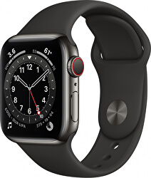 Apple Watch Series 6 GPS + Cellular, 44mm Graphite Stainless Steel Case with Black Sport Band - Regular