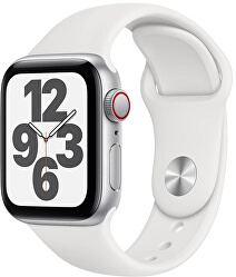 Series6SECellular Apple Watch SE GPS + Cellular, 44mm Silver Aluminium Case with White Sport Band - Regular