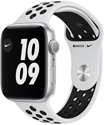 Watch Nike Series 6 44mm stříbrný hliník s platinovým/černým sportovním řemínkem Nike