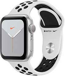 Watch Series 5 Nike 40mm stříbrný hliník s bílým Nike řemínkem