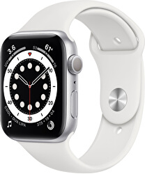 Watch Series 6 44mm stříbrný hliník s bílým sportovním řemínkem - SLEVA