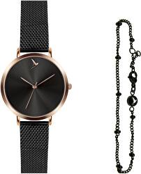 Dárková sada Classic Dark Black Mesh & Bubbled Bracelet EWS046