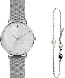 Seashell Mesh & Silver Mini Pearl Bracelet EWS042