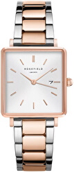 The Boxy White Sunray Steel Silver Rose gold Duo QWSSRG-Q044