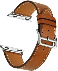 Kožený řemínek pro Apple Watch - Hnědý 38/40 mm