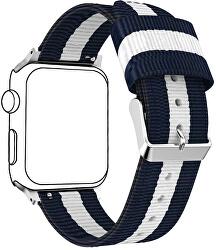 NATO řemínek pro Apple Watch - Modrá/Bílá 38/40 mm