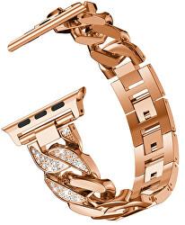 Kovový tah pro Apple Watch - Růžově zlatý - 42/44 mm