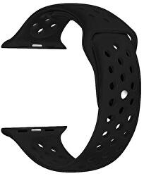 Silikonový řemínek pro Apple Watch - Černá/Černá 42/44 mm