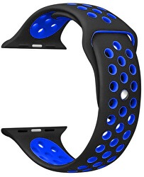 Silikonový řemínek pro Apple Watch - Černá/Modrá 42/44 mm