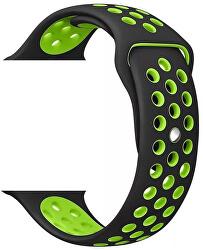 Curea din silicon Apple Watch - Black / Green42/44 mm