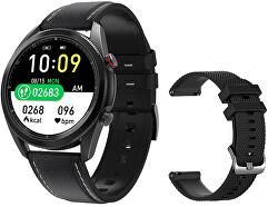 Smartwatch W75B - Black Leather + náhradní řemínek