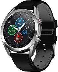 Smartwatch W25S - Silver/Black Leather
