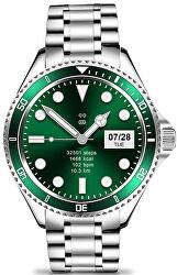 Smartwatch W69SGN - Silver+Green