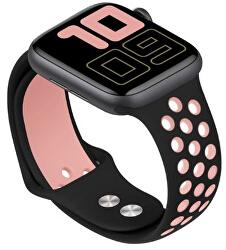 Silikonový řemínek pro Apple Watch - Černá/Světle růžová 42/44 mm