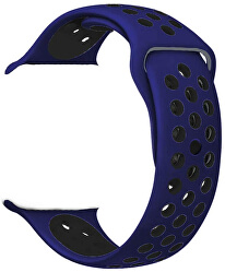 Silikonový řemínek pro Apple Watch - Modrá/Černá 42/44 mm