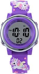 Dětské digitální hodinky s jednorožci - fialová