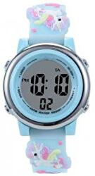 Dětské digitální hodinky s jednorožci - modrá