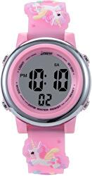 Dětské digitální hodinky s jednorožci - růžová
