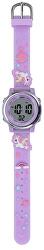 Dětské digitální hodinky s jednorožci - růžovo-fialová