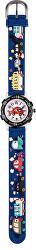 Dětské hodinky s motivem aut - modré s černým pouzdrem