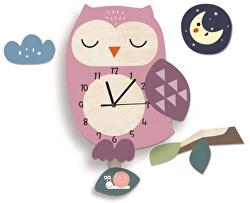 Nástěnné dřevěné hodiny - Fialová Sova