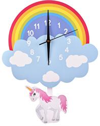 Nástěnné dřevěné hodiny - Jednorožec