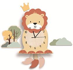 Nástěnné dřevěné hodiny - Lev