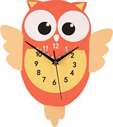 Nástěnné dřevěné hodiny - Sova