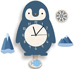 Nástěnné dřevěné hodiny - Tučňák
