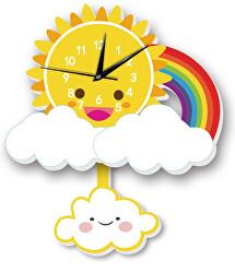 Nástěnné dřevěné hodiny - Sluníčko s duhou