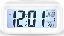 Stolní digitální hodiny s budíkem - bílé