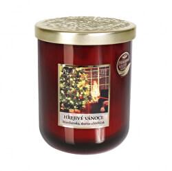 Vonná svíčka velká se zlatým víčkem Hřejivé Vánoce 340 g