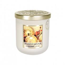 Vonná svíčka střední se zlatým víčkem Jiskřivé Vánoce 115 g