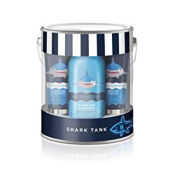 Sada péče o tělo s žínkou v plechové krabičce Shark 5 ks