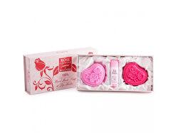 Set cadou de 2 săpunuri cu glicerină și balsam de buze cu apă de trandafiri Rose of Bulgaria