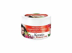Hloubkově regenerační maska na poškozené vlasy Keratin + Ricinový olej 260 ml