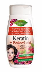 Șampon cu balsam 2 în 1 pentru păr deteriorat Cheratina + Ulei de ricin 260 ml