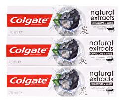 Pastă de dinți Naturals Charcoal Trio 3 x 75 ml