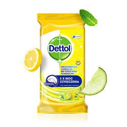 Antibakteriální ubrousky na povrchy Citron a Limeta 32 ks