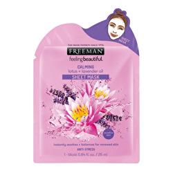 Upokojujúci látková maska Lotos a levanduľový olej (Calming Sheet Mask) 25 ml