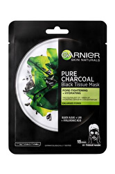 Čierna textilná maska s extraktom z morských rias Pure Charcoal Skin Naturals (Black Tissue Mask) 28 g