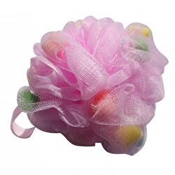 Burete de spălat pentru masaj Pink with Foam (Mesh Massage Bath Sponge)