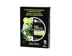 Černá textilní maska s extraktem z mořských řas Pure Charcoal Skin Naturals (Black Tissue Mask) 5 ks