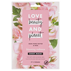 Textilní pleťová maska s růžovým olejem a máslem muru muru (Blooming Radiance Sheet Mask) 1 ks