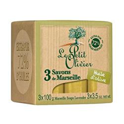 Marseillské mýdlo s olivovým olejem (Marseille Soaps) 3 x 100 g
