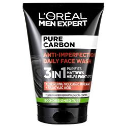 Čisticí gel proti nedokonalostem pleti 3 v 1 Men Expert Pure Carbon (Anti-Imperfection Daily Face Wash) 100 ml