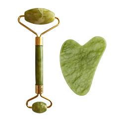 Masážní váleček a destička Guasha zelený xiuyan jadeit (Light Green Xiuyan Jade Roller & Gua Sha Set)