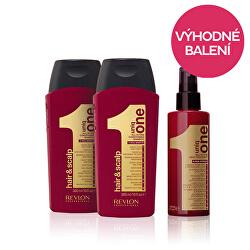 Zvýhodněné balení Čisticí šampon Uniq One 300 ml + Unikátní vlasová kúra 10 v 1 150 ml + dárek