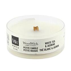 Aromatická malá svíčka s dřevěným knotem White Tea & Jasmine 31 g